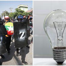 Beveik visame Mianmare buvo nutrūkęs elektros tiekimas