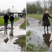 Briste: štai tokiais pėsčiųjų takais miestiečiai turi pasiekti uostamiesčio centrą. Pernai, išleidus 900 tūkst. eurų, šiemet į Malūno parko takus vėl bus investuojama.