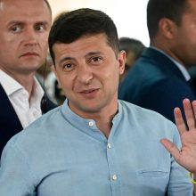"""Rinkimus Ukrainoje laimėjo  V. Zelenskio partija """"Liaudies tarnas"""""""