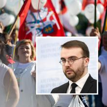Su protestuotojais prie Prezidentūros išėjo pakalbėti patarėjas: dėkojo už aktyvumą