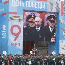 """Maskvoje – Pergalės paradas: V. Putinas sako """"tvirtai"""" ginsiąs Rusijos interesus"""