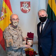 Lietuvos gynybos vadovai padėkojo Ispanijos kariuomenės vadui už paramą