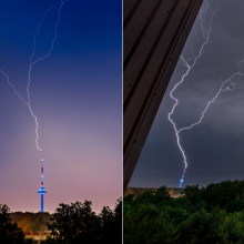 Pagavo įspūdingų kadrų, kaip atrodė Vilnius per audrą: žaibas kirto į TV bokštą