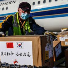 Kinai Lietuvai atsiuntė 20 tūkst. kaukių, 120 tūkst. porų pirštinių