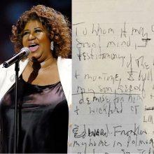 Velionės bliuzo karalienės A. Franklin namuose aptikti trys ranka rašyti testamentai