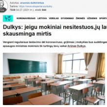 """SAM apie tekstą """"Jeigu mokiniai nesitestuos, jų laukia skausminga mirtis"""": smerkiame dezinformaciją"""