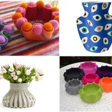 Ryškiaspalvės tekstilinės vazos – gerai nuotaikai