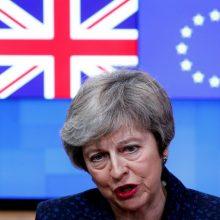 """Th. May: parlamentarai galės balsuoti dėl """"Brexit"""" be susitarimo arba jo atidėjimo"""