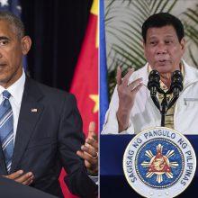 Filipinų prezidentas atsiprašė, kad provokuojančiai plūdo B. Obamą