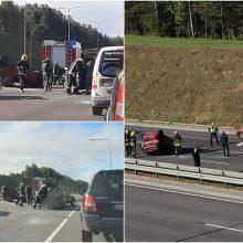 Per masinę avariją apvirto automobilis: nėščia moteris išvežta į ligoninę, žuvo šuo