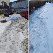 Dėl sniego gatvėse – klaipėdiečių įsiūtis: už nevalytus šaligatvius laukia nuobaudos