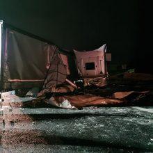 """Po dviejų vilkikų avarijos kelyje """"Via Baltica"""" atnaujintas eismas link Marijampolės"""