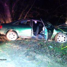 Girtas vairuotojas nesuvaldė automobilio: trenkėsi į medį ir apsivertė, nukentėjo du žmonės