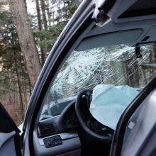 Girtas vairuotojas Jurbarko rajone bėgo nuo pareigūnų: kelionė baigėsi atsitrenkus į medį