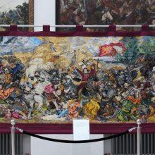 """Siuvinėtas paveikslas """"Žalgirio mūšis"""" – 15-os metų darbas"""
