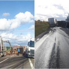 Įspėja vairuotojus: Šiaulių aplinkkelyje nuvirto miškovežis, išbyrėjo rąstai