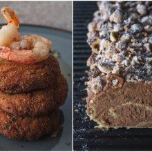 Savaitgalio pietums – žuvies kotletai ir biskvitinis vyniotinis su riešutais