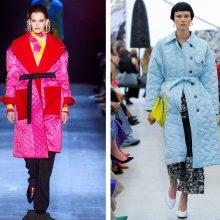 Akcentas: siekiant išryškinti liemenį, diržu apjuosiama ne tik suknelė, bet ir megztinis, švarkas, paltas.