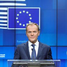 """D. Tuskas: Europos Sąjunga niekada nesutiks su """"Brexit"""" be sutarties"""