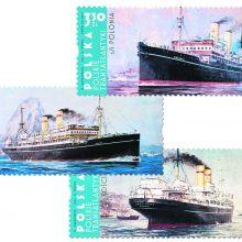 """Atmintis: Lenkijos pašto ženkluose neseniai įamžinti transatlantiniai laivai """"SS Polonia"""", """"SS Pulaski"""" ir """"SS Kosciuszko""""."""
