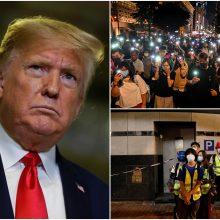 JAV Kongreso priimtas Honkongo teisių įstatymas perduodamas D. Trumpui