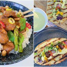 Savaitgalio pietums – ančių širdelės ir duonelės su grilyje keptomis daržovėmis