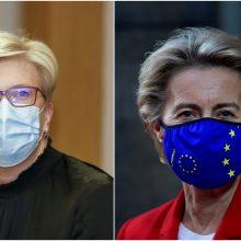 EK pirmininkė su I. Šimonyte aptarė situaciją dėl vakcinų ir ekonomikos atsigavimą