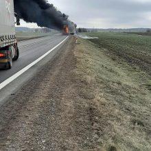 """Vaizdas sukrečia: kelyje """"Via Baltica"""" vilkikas virto ugnies fakelu"""
