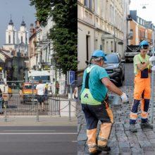 Vilniaus gatvė uždaroma: statomos užtvaros, vaikomi žmonės