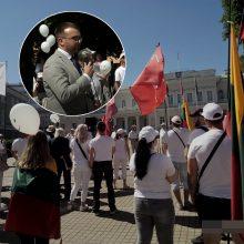 Maršo dalyvius sveikinęs P. Mačiulis: norėjo ateiti ir prezidentas, slėptis būtų buvę negražu