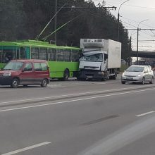 Nuokalnės gatvės nepasidalijo troleibusas ir sunkvežimis