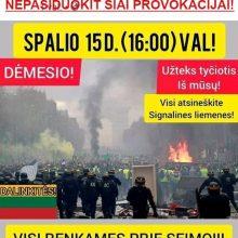 Feisbuke į protestą prie Seimo kvietusiems asmenims – policijos įspėjimas