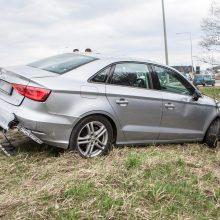 """Netoli """"Megos"""" kelio nepasidalijo mersedesas ir """"Audi"""" – vienas jų atsidūrė griovyje"""