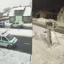 Iš sniego nulipdytu trikoju susidomėjo ir patys pareigūnai
