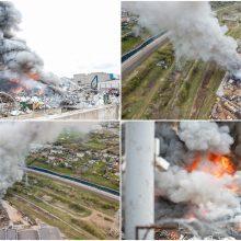 Petrašiūnuose – didelis gaisras, juo susidomėjo ir aplinkosaugininkai <span style=color:red;>(vaizdo įrašai)</span>