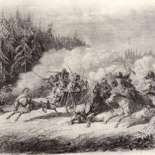 Ataka: taip dailininkas J.Lange raižinyje pavaizdavo 1863 m. sukilėlių atakuojamą caro kariuomenę prie Kazlų Rūdos.