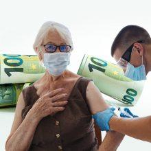 Ministerija siūlo naujai nuo COVID-19 pasiskiepijusiems senjorams skirti 100 eurų išmoką