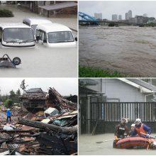 Prie Japonijos artėjantis galingas taifūnas jau pareikalavo pirmosios aukos