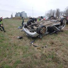 Girto vairuotojo kelionė baigėsi liūdnai – mašina nuvažiavo nuo kelio ir apvirto
