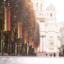 Vasario 16-osios proga – šventiškai papuoštas Kaunas