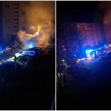 Panevėžyje apdegė du automobiliai, įtariamas padegimas