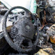 Panevėžyje supleškėjo automobilis, įtariamas padegimas