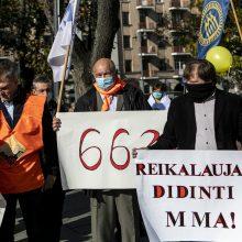 Profsąjungos mitinge ragino Vyriausybę didinti minimalią algą