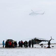 """Rusijos erdvėlaivis """"Sojuz"""" su TKS įgulos nariais nusileido Kazachstane"""