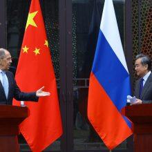 Kinijos ir Rusijos diplomatijos vadovai parodė vienybę prieš JAV ir ES