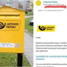 Būkite atsargūs: sukčiai prisidengia Lietuvos pašto vardu