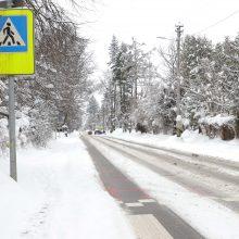 Perspėja: keliuose yra slidžių ruožų