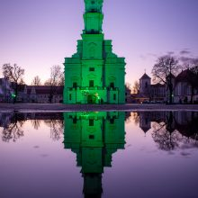Šv. Patriko dieną Kauno rotušė nušvito žalia spalva