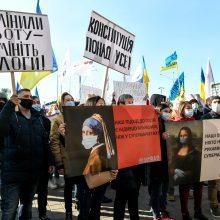Nepaisant protestų, Ukrainoje griežtinami apribojimai dėl koronaviruso