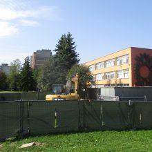 Praūžusi liūtis sustabdė M. Mažvydo progimnazijos stadiono rekonstrukcijos darbus